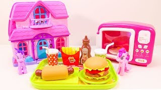 Little Pony Burger Snacks Making With Colorful Playdoh