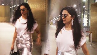 Deepika Padukone Spotted In Stunning Silver And White Combination At Mumbai Airport
