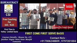 Aspirants of SRTC Deptt today protest at Press colony Srinagar demanding for selection list.Report