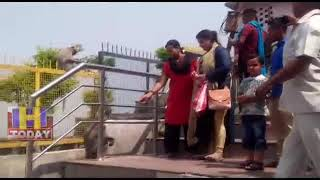 24 JUNE N 7 Naina Devi pilgrims and tourists are taking selfi with monkeys around temple