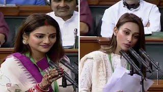 Nusrat Jahan, Mimi Chakraborty from TMC take oath as Lok Sabha members
