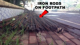 Footpath full of construction material pose grave danger