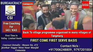 Back To village programme organised in many villages of Tangmarg.