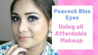 Peacock Blue Eyes | Affordable Wedding Guest Makeup Look | Nidhi Katiyar