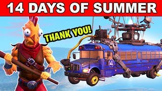 THANK THE BUS DRIVER AND FINISH TOP 20 IN DIFFERENT MATCHES 14 DAYS OF SUMMER FORTNITE BATTLE ROYALE