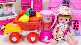 Baby Doll Playing With Fruits Making Colorful Fruit Juice - Video For Kids