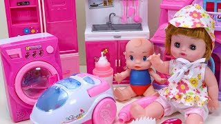 Baby Doll Playing With Washing Machine Toys - Baby Play Dolls
