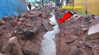 MMC wakes up day during the onset of rains, dug up road to clean gutter!