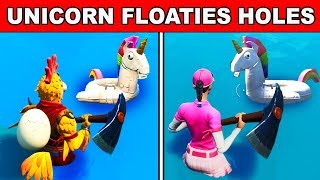 SEARCH UNICORN FLOATIES AT SWIMMING HOLES - 14 DAYS OF SUMMER CHALLENGES FORTNITE BATTLE ROYALE