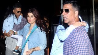 Akshay Kumar And Twinkle With Daughter Nitara Spotted At Mumbai Airport