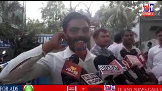 HOME GUARD M. YADI LAL PROTEST AT PANJAGUTA POLICE STATION DUE TO SUSPEND HIM
