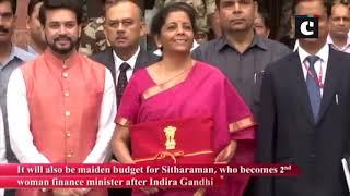 FM Nirmala Sitharaman arrives at Ministry of Finance