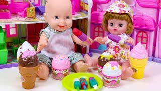 Baby Doll Making Ice Cream With Colorful Play Doh Toys.