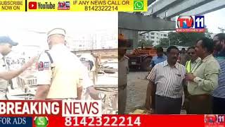 FLYOVER DURING CONSTRUCTION  CRANE OVERTURNS DRIVER DEAD AT GACHIBOWLI  HYDERABAD