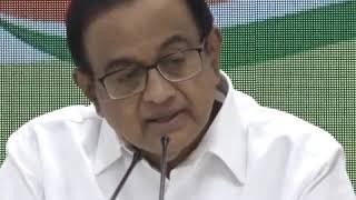 P Chidambaram addresses media at Congress HQ on Union Budget 2019