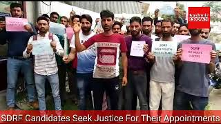 SDRF Candidates Seek Justice For Their Appointments.Hundreds Protest For their Demands Near Kashmir