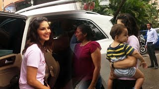 Sunny Leone With Family Spotted At Play School Fusion Juhu