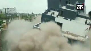 इंदौर: नगर निगम ने ढहा दी 6 मंजिला अवैध इमारत