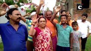 Locals protest after their houses affected following heavy rainfall in Bihar's West Champaran