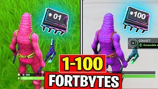 ALL 100 FORTBYTES in 13 Minutes and 7 Seconds (Fortnite Battle Royale) Fortbyte Challenges