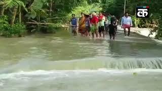 असम: बाढ़ के कारण मोरीगांव जिले के भूरागांव की सड़कों का हुआ बुरा हाल