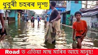 ধুবুৰী চহৰত বৰ্তমানৰ পৰিস্থিতি চাওঁক! Fish catching in Dhubri Town flood....