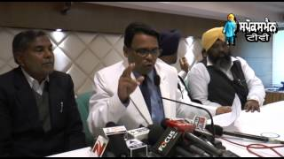 National General Secretary of the Bahujan Samaj Party Narendra Kashyap addresses mediapersons in Cha
