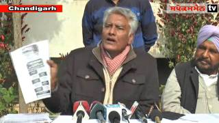 Senior Congress leader Sunil Jakhar addressing media persons at Punjab Congress Bhawan in Chandigarh