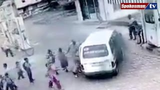 School van suddenly catches fire at Petrol pump, no casuality
