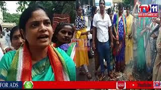 CONGRESS PARTY PROTEST DUE TO ARREST OF PRIYANKA GANDHI AT GANDHI BHAVAN HYDERABAD TELANGANA