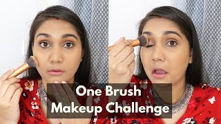 1 BRUSH MAKEUP CHALLENGE USING MAKEUP IN MY HANDBAG ONLY | NEW MAKEUP CHALLENGE | NIDHI KATIYAR