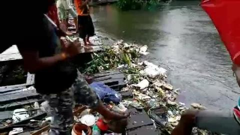 The bridge of 35 no ward siliguri was damaged after the water level of JoraPani River Increased