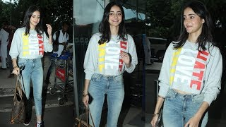 Ananya Pandey Fly Off For Pati Patni Aur Woh Shooting   Spotted At Mumbai Airport