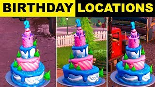 FORTNITE SEASON 9 BIRTHDAY CAKE LOCATIONS! Dance In Front Of Different Birthday Cakes Spots
