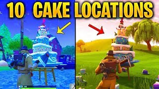 ALL 10 BIRTHDAY CAKE LOCATIONS! FORTNITE SEASON 9 - Dance In Front Of Different Birthday Cakes Spots