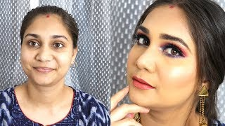 WEDDING GUEST/FESTIVE MAKEUP 2019 | RED & BLUE EYE MAKEUP | BEST DAY & NIGHT CREAM | NIDHI KATYAR