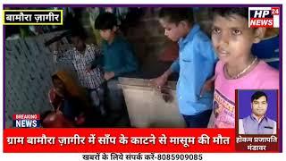 माता पिता गांव बाहर भोजन बना रहे थे,इधर घर मे मासूम को सांप ने काट लिया