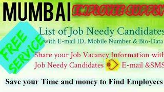 MUMBAI      EMPLOYEE SUPPLY   ! Post your Job Vacancy ! Recruitment Advertisement ! Job Information