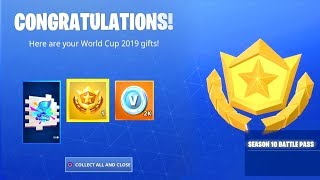 FORTNTIE SEASON 10 BATTLE PASS FREE! - (FREE 2000 V-BUCKS, WORLD CUP 2019 SPRAY)