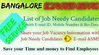 BANGALORE   EMPLOYEE SUPPLY   ! Post your Job Vacancy ! Recruitment Advertisement ! Job Information