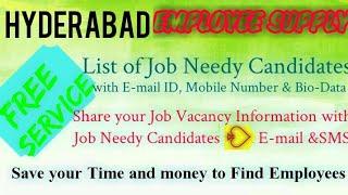 HYDERABAD   EMPLOYEE SUPPLY   ! Post your Job Vacancy ! Recruitment Advertisement ! Job Information