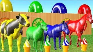 Los animales de granja y sus crías se transforman en animales coloridos y sus crías.