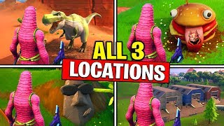 ALL 3 LOCATIONS! Visit DRIFT PAINTED DURRR BURGER HEAD, a DINOSAUR, and a STONE HEAD STATUE FORTNITE