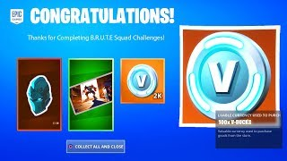 B.R.U.T.E. SQUAD CHALLENGES FREE REWARDS - FREE BATTLE STARS, V-BUCKS (BRUTE CHALLENGES) FORTNITE
