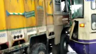 Halvad | Incident with accidental driver created between truck and bus| ABTAK MEDIA