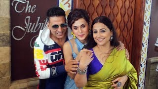 Akshay Kumar Vidya Balan & Taapsee Pannu Spotted Promoting Their Film Mission Mangal At Sun & Sand