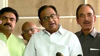 P. Chidambaram addresses media in Parliament House on removal of Article 370