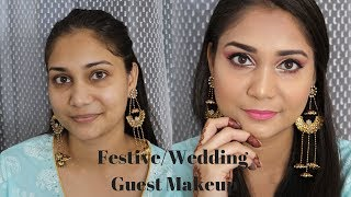 Glowy Dewy Festive/Wedding Guest Makeup with products under Rs. 200 | Rakhi/Eid Makeup Look