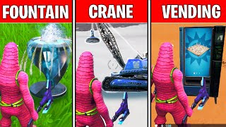 SPRAY a FOUNTAIN, a JUNKYARD CRANE, and A VENDING MACHINE LOCATIONS! SPRAY AND PRAY CHALLENGES