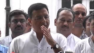 Randeep Singh Surjewala addresses media after the CWC meeting at AICC HQ